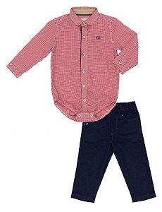 Conjunto Masculino Baby Camisa Manga longa Vermelha Com Calça Club Z