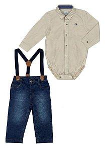 Conjunto Masculino Bebê de Camisa Bege Com Calça Jeans Club Z