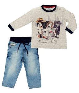Conjunto Masculino Bebê T- Shirt Cinza Com Calça Jeans Club Z