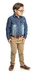 Conjunto Masculino Infantil  Camisa Jeans  Fil A Fil Com Calça  Club Z