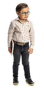 Conjunto Masculino Infantil Camisa Manga Loga Xadrez Branca  Com Calça Club Z