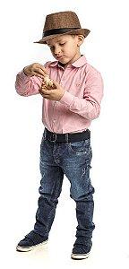 Conjunto Masculino Infantil  Camisa  Manga longa Oxford Rosa Com Calça Club Z