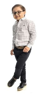 Conjunto Masculino Infantil  Camisa Xadrez Branca  Com Calça Club Z