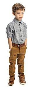 Conjunto Masculino Infantil  Camisa  Manga Longa Linge Mescla com Calça Club Z
