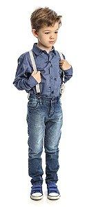 Conjunto Masculino Infantil de   Camisa Manga longa  Azul  Com Calça Jeans ClubZ