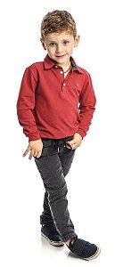 Conjunto Masculino Infantil de  Camisa Polo Bordeaux Vermelha Com Calça ClubZ