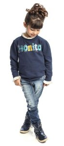 Conjunto  Feminino Infantil Blusa  Azul Com Calça Jeans Matinée
