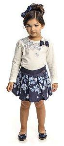 Conjunto Infantil Feminino  Blusa Branca  Manga Longa Com Saia Estampada Matinée