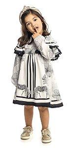 Vestido Infantil Estampado de Branco e Preto  Matinée