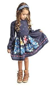Vestido infantil Azul  Estampado  Matinée