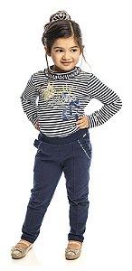 Conjunto Feminino Infantil Blusa  Listrada  Azul  e Calça Matinée