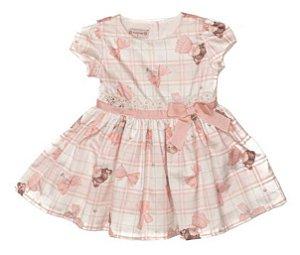 Vestido Festa Bebê Estampado de Rosa Fadinhas  Matinée