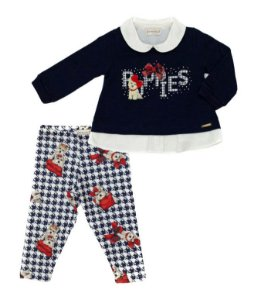 Conjunto Bebê Feminino Bata Azul e Calça Malha Matinée