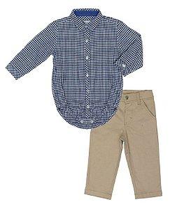 Conjunto Masculino Bebê Camisa Xadrez Azul com Calça Club Z