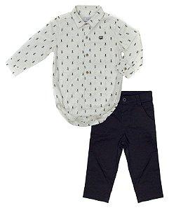 Conjunto Masculino Bebê Camisa Branca Estampado com Calça Clubz
