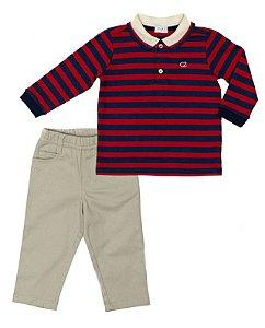 Conjunto Masculino Bebê com Polo Listrada Vermelha Com Calça Club Z