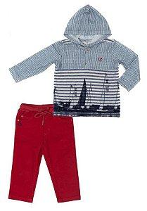 Conjunto Masculino Bebê Camiseta com Capuz Azul e Calça Vermelha Club Z