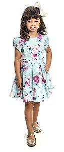 Vestido Infantil Festa Estampado  Azul Matinée