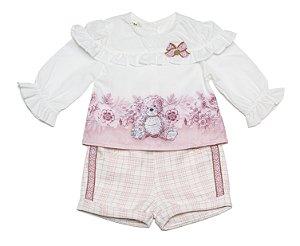 Conjunto Bebê Feminino Bata Estampada  com Shorts Matinée