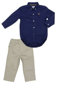Conjunto Masculino Bebê de Camisa Azul com Calça Sarja Club Z