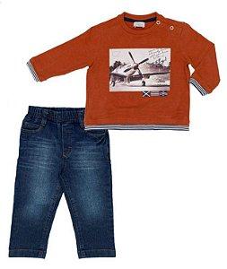 Conjunto Bebê Masculino T-Shirt  Laranja com Calça Jeans Club Z