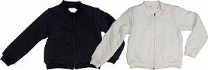 kit 02 jaquetas Infantil Feminino Matelassê Preta e Crú Matinée