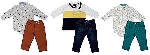 kits 03 Conjuntos de Bebe Masculino  Inverno Colorido Club Z