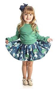 Conjunto Infantil Feminino Blusa Verde com Saia Matinée
