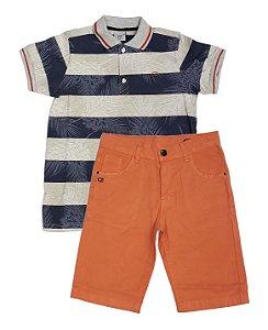 Conjunto Masculino Infantil Pólo Listrada  com Bermuda Sarja Clubz