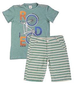 Conjunto Masculino Infantil Camiseta Verde e Bermuda Club Z