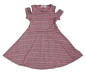 Vestido Infantil Malha Listrado Rosa  Matinée