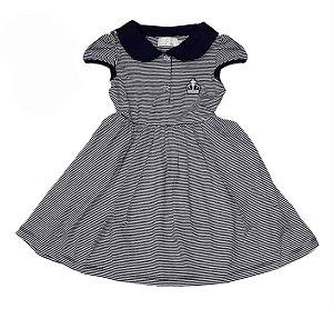 Vestido Infantil Malha Listrada Azul Matinée