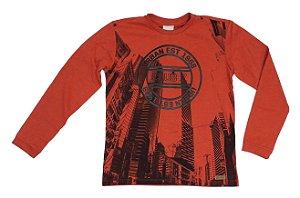 Camiseta Infantil Masculina Manga Longa Vermelha Estampada Club Z