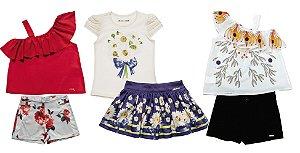 Kit 03 Conjuntos Infantil Feminino Verão Colorido Matinée