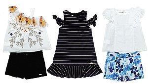 Kit 03 Conjuntos Infantis Feminino Verão Colorido Matinée