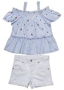 Conjunto Infantil Feminino Bata Azul com Shorts Sarja