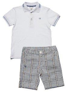 Conjunto Masculino Infantil Pólo Branca com Bermuda Xadrez Club Z
