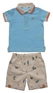 Conjunto Bebe Masculino Pólo Azul Bermuda Sarja Club Z