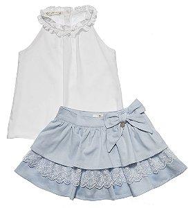 Conjunto Infantil Feminino Bata Branca com Saia Matinée