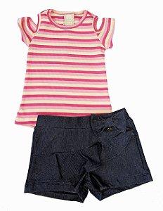 Conjunto Infantil Feminino Listrado Rosa e Shorts Matinée