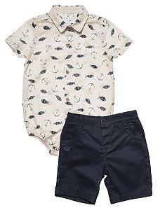 Conjunto Bebe Masculino Camisa Estampada Bermuda Sarja Club Z
