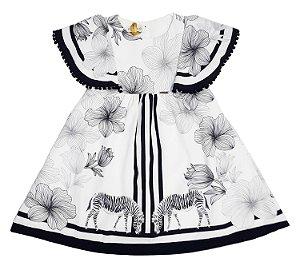 Vestido Infantil Manga Curta Estampado, Preto e Branco Matinée
