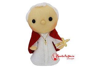 Boneco Papa João Paulo II de Pano Artesanal Colecionável para Decoração