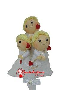Buquê de Noiva Cupido com 3 Para Casamento Artesanal