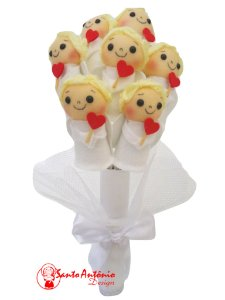 Buquê de Mini Cupido em Feltro Para Casamento Noiva Artesanal Com 7