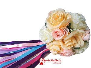 Buquê de Noiva com Fitas de Cetim para Cortar Artesanal Casamento