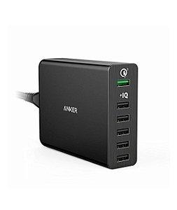 Carregador Anker [Quick Charge 3.0] Anker 60W 6-Port USB Charger Quick Charge 2.0 PowerPort+ 6 com PowerIQ
