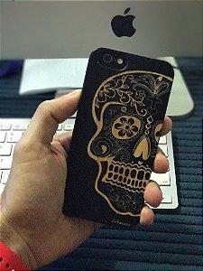 iPhone 6 64GB Silver com tela preta e botao branco com pelicula de privacidade, pelicula traseira de fibra de carbono e case