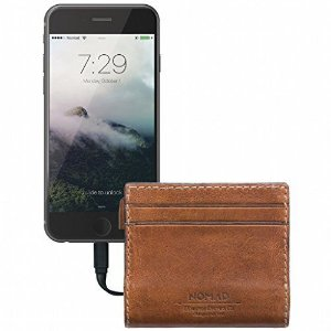 Carteira couro com bateria 2400 mAh Mfi da Nomad Slim Horween Leather Charging Wallet for iPhone