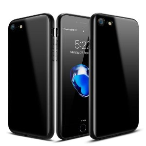 Case Roybens [Piano-Paint Series] Real 2H [Hard] Scratch Resistant Back Cover [Soft] Enhanced Grip Bumper for Apple iPhone 7 (2016) - Jet Black